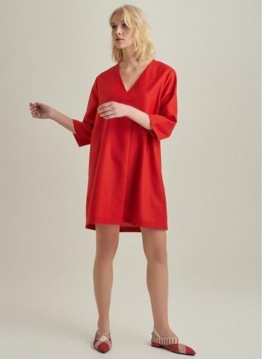 NGSTYLE V Yaka Elbise Kırmızı